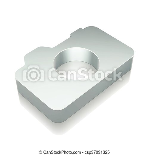 3d metallic Photo Camera icon with reflection, vector illustration. - csp37031325