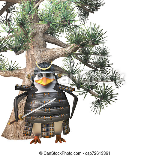 3d Mighty Penguin Samurai Warrior Cartoon Character With Sword Standing In Front Of Conifer Pine Tree 3d Illustration Render Entry for day 19 of sculptjanuary 2016. can stock photo