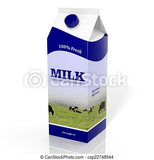 3D milk carton box isolated on white - csp22748544