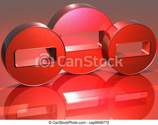 3D Minus Red Sign - csp9949772