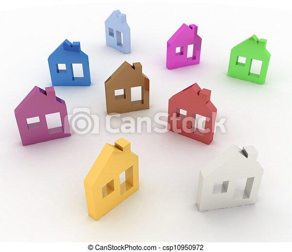 3d model house symbol set - csp10950972