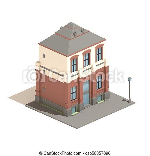 3d Model Isometric Apartment English House Isolated On White Background