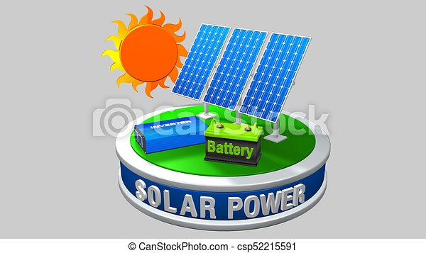 3D model of a solar energy equipment consisting of 3 solar panels, an inverter and a battery with the sun behind on a white background - Renewable Energy - 3D render - csp52215591