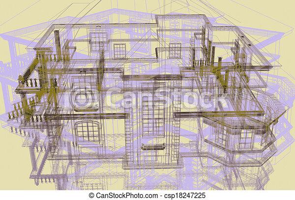 3d modern architecture - csp18247225