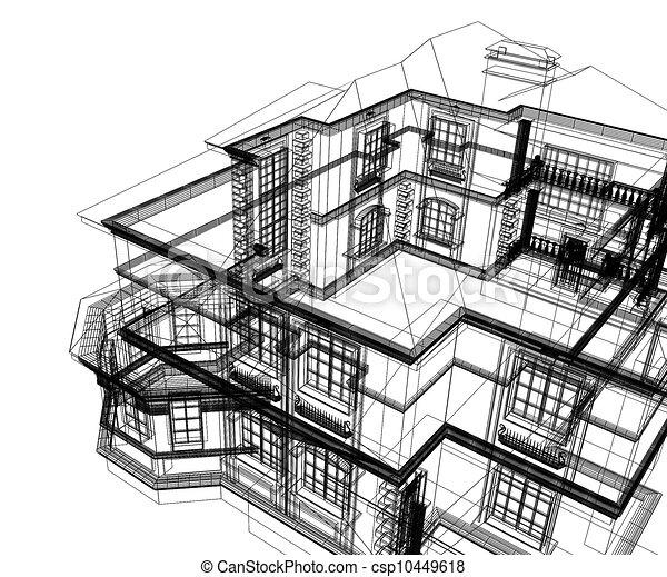 3d modern architecture  - csp10449618