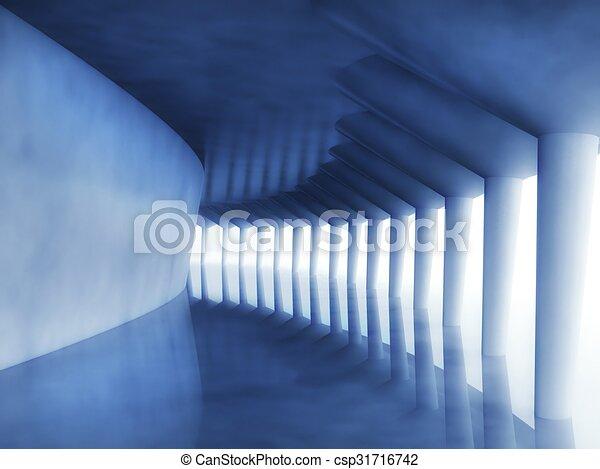3d modern architecture corridor - csp31716742