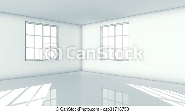3d modern architecture interior with window - csp31716753