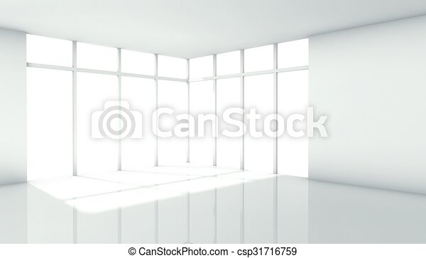 3d modern architecture interior with window - csp31716759