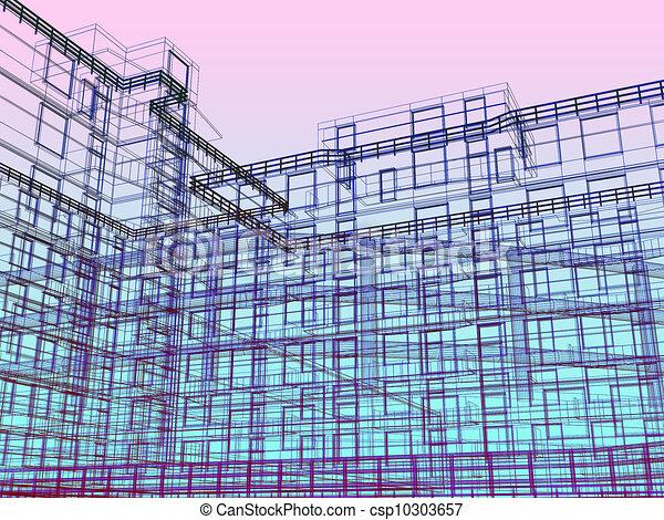 3d modern architecture - csp10303657