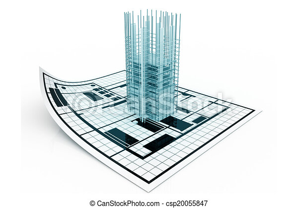 3d modern building and plan blueprint 3d modern building and plan blueprint malvernweather Image collections