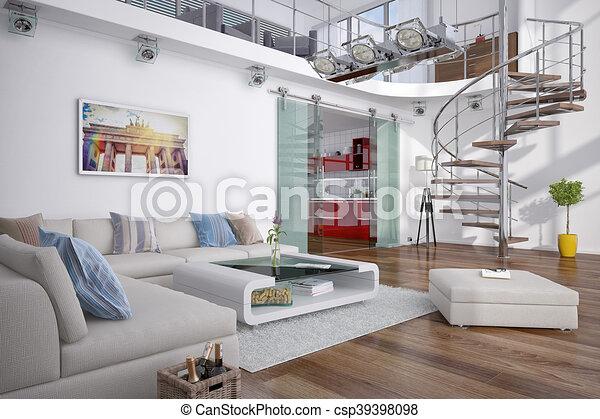 3d, modern, -, dachgeschoss, galerie