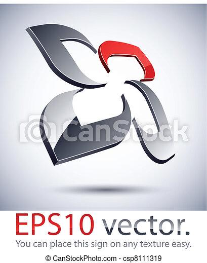 3D modern flower logo icon. - csp8111319