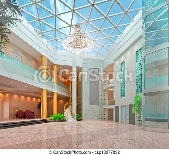 3d modern hall,corridor - csp13077832
