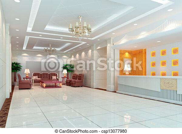 3d modern hall,corridor - csp13077980