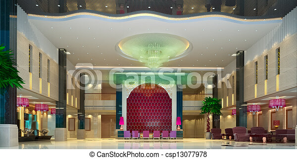 3d modern hall,corridor - csp13077978
