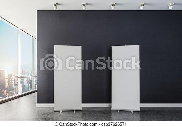 3d modern interior with elevator an - csp37626571