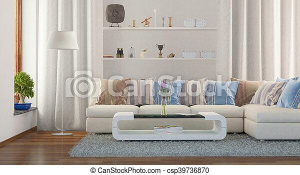 3d - modern livingroom - csp39736870