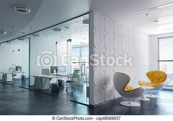 modern office interior. 3d Modern Office Interior Render - Csp48569037 I