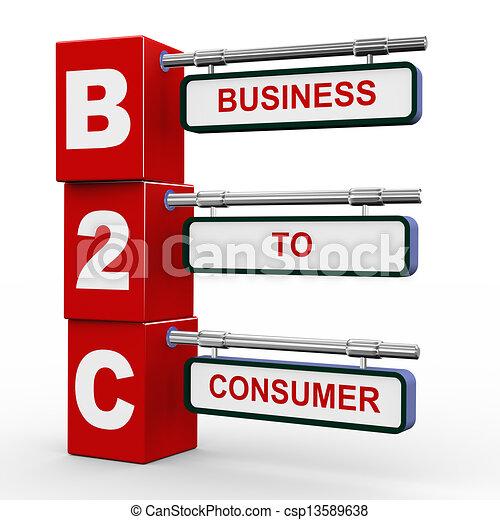 3d modern signboard of b2c - csp13589638