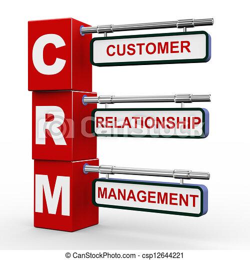 3d modern signboard of crm. 3d illustration of modern ...