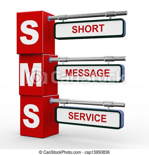 3o cartel moderno de sms - csp13950836