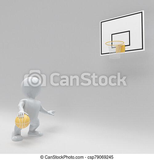 3D Morph man playing basketball - csp79069245