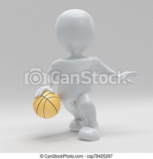 3D Morph man playing basketball - csp78425297