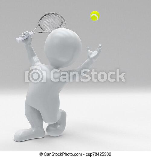 3d morph man playing tennis - csp78425302