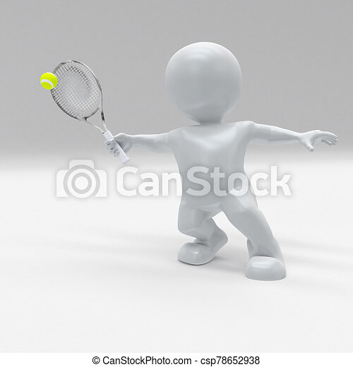 3d morph man playing tennis - csp78652938