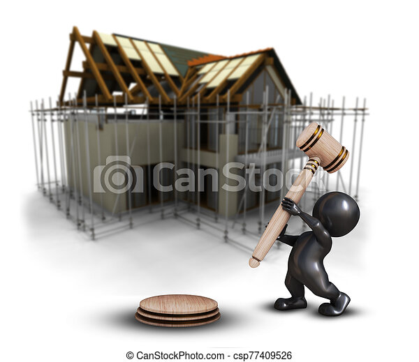 3D Morph Man with gavel against a defocussed house under construction image - csp77409526