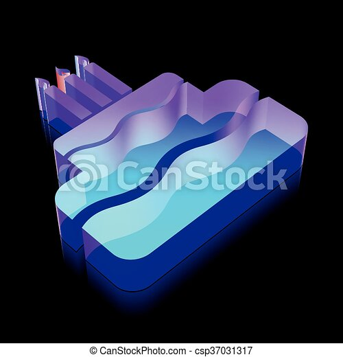 3d neon glowing Cake icon made of glass, vector illustration. - csp37031317