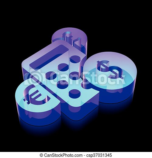 3d neon glowing Calculator icon made of glass, vector illustration. - csp37031345