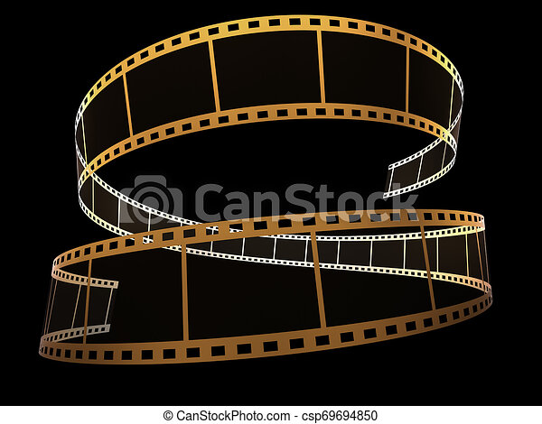 3d, nero, striscia cinematografica - csp69694850
