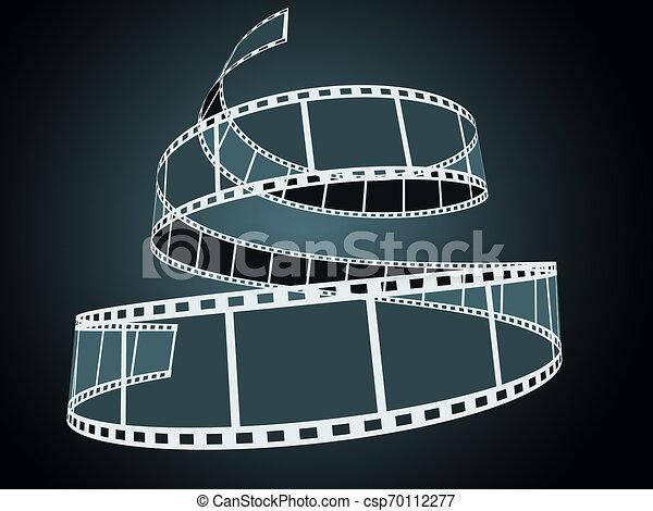 3d, nero, striscia cinematografica - csp70112277