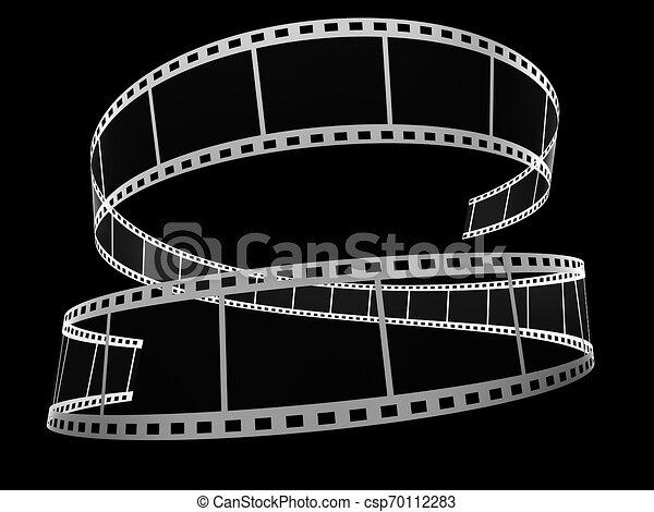 3d, nero, striscia cinematografica - csp70112283