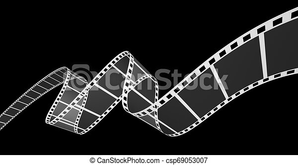 3d, nero, striscia cinematografica - csp69053007