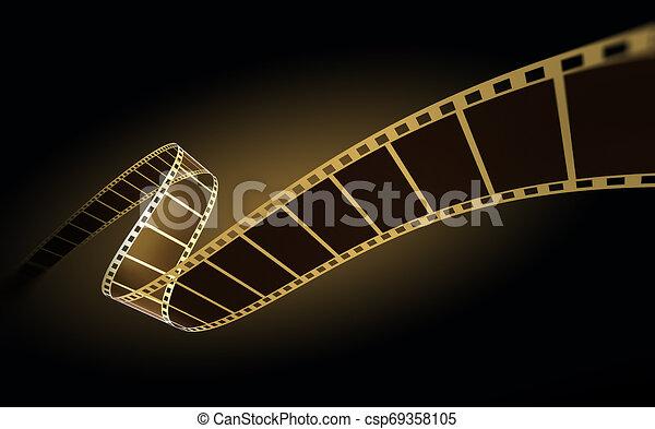 3d, nero, striscia cinematografica - csp69358105