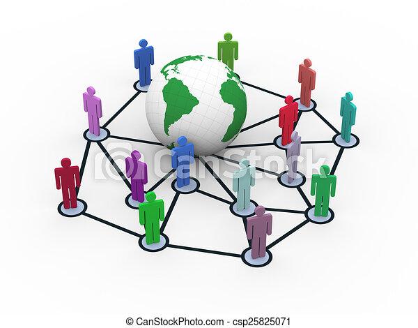 3d network concept - csp25825071