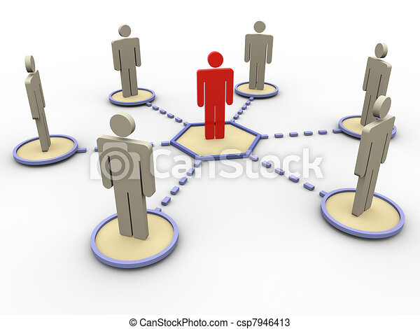 3d network of people - csp7946413