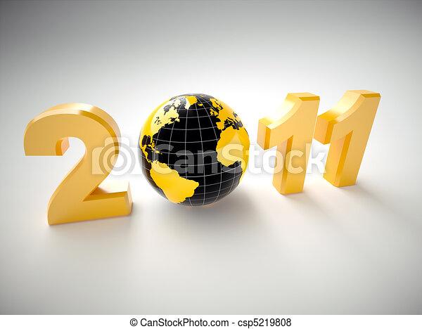 3d new year 2011 illustration - csp5219808