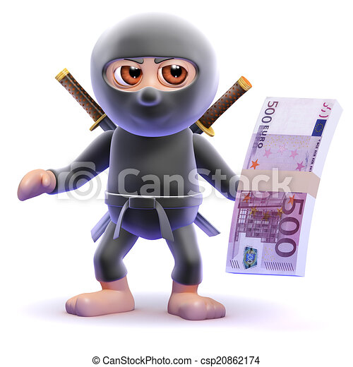 3d Ninja assassin holds Euro bank notes - csp20862174