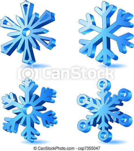 3d, noël, vecteur, flocon de neige, icônes - csp7355047
