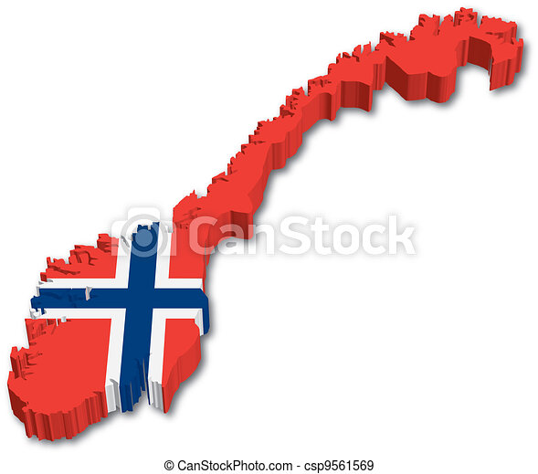3D Norway map with flag - csp9561569