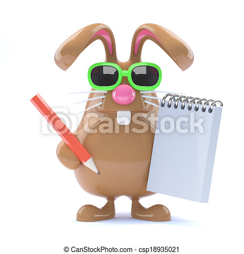 3d note taking bunny 3d render of easter rabbit with notepad and