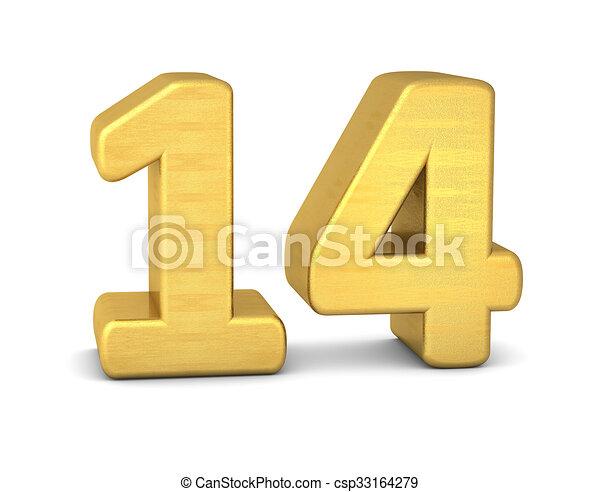 3d number 14 gold - csp33164279