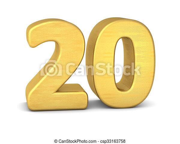 3d number 20 gold - csp33163758