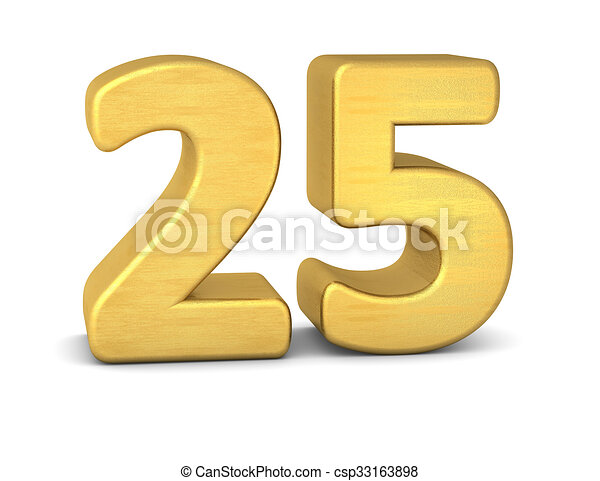 3d number 25 gold stock illustration - Search Vector ...