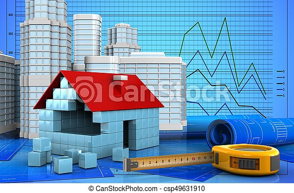 3d of house blocks construction - csp49631910
