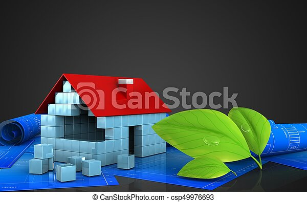 3d of house blocks construction - csp49976693