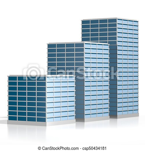 3d Office Buildings On White Background Great For Topics Like